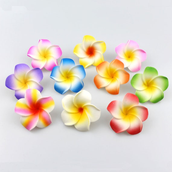 10pcs Plumeria Artificial Hawaiian Foam Frangipani Flower Hair Clip for...