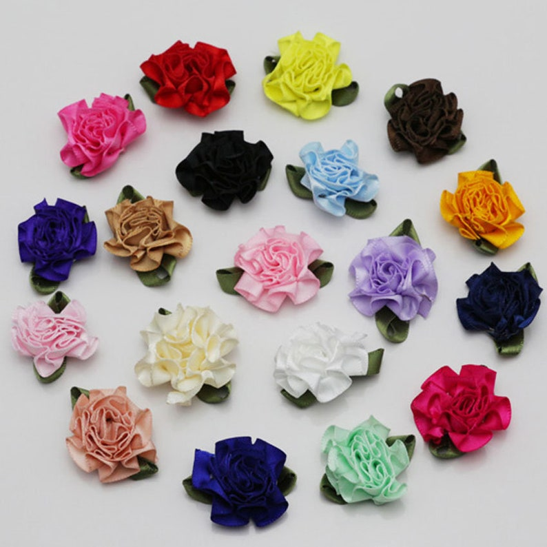 Big Size NEW 10PCS 4cm Satin Ribbon Rose Flowers DIY Craft Wedding Appliques