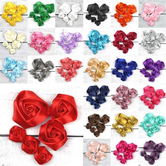 50pcs Satin Ribbon Rose Flower Wedding Craft Appliques Decor White Wholesale