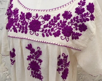 Mexican embroidered dress,oxacan,huipil, gypsy, boho, fiesta