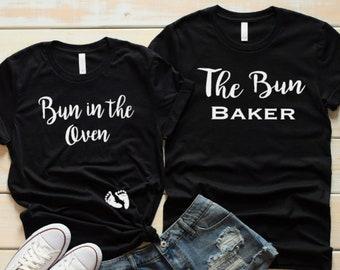 d5635dac88b03 Bun In The Oven Shirt, The Bun Baker Shirt, Pregnancy Announcement,  Matching Mom Dad To Be Shirts, Baby Reveal Shirt, Baby Announcement