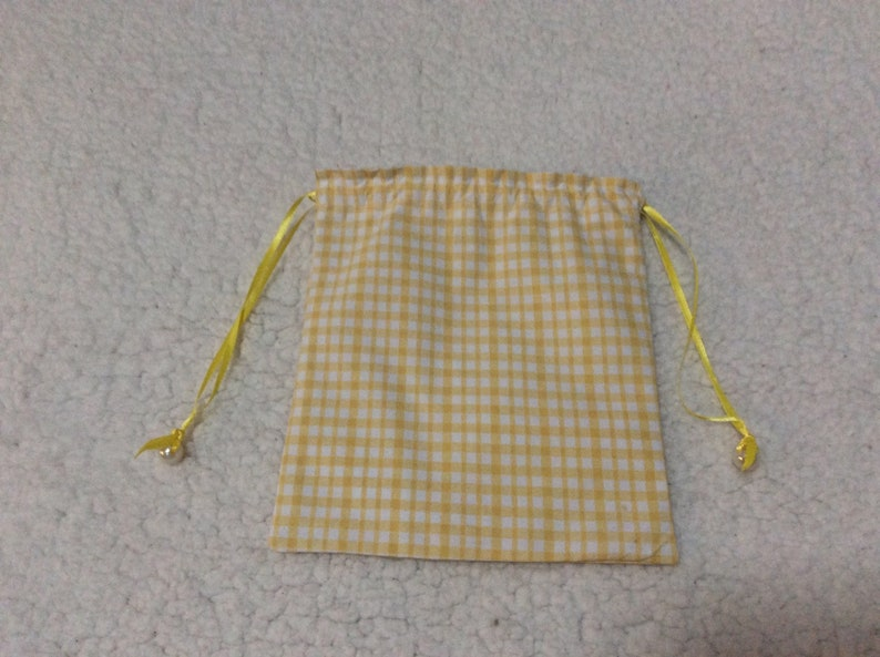 Yellow and White Checkered Drawstring Gift Pouch