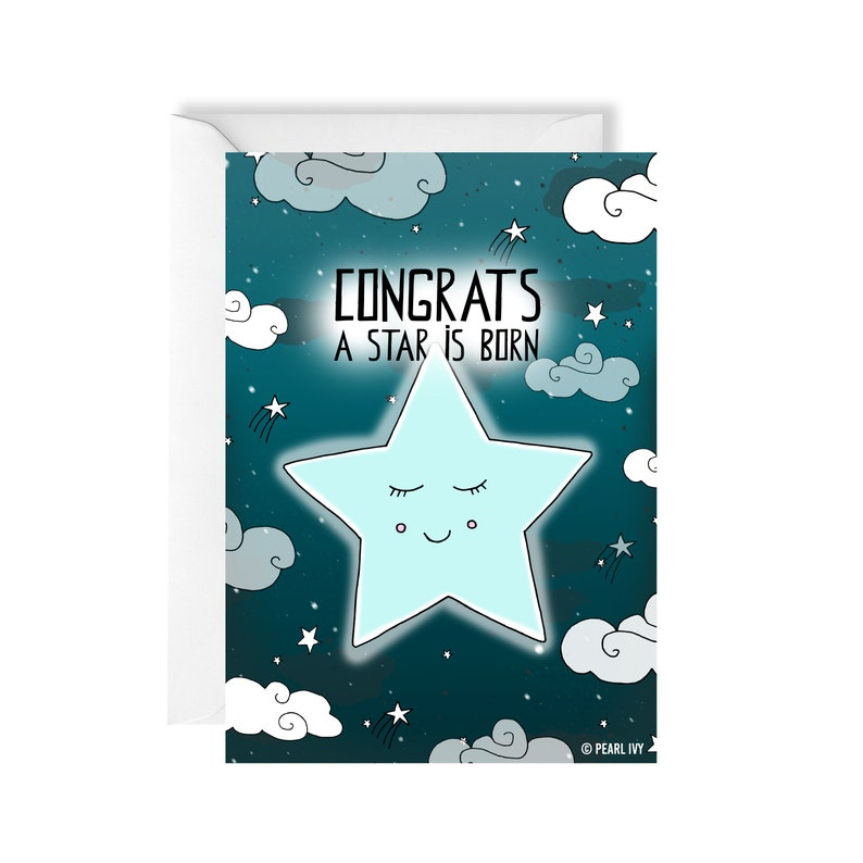 Star Baby Card  Funny Greeting Cards  New Baby Card Baby Card  New Born