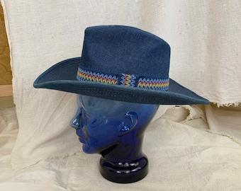 327178f18b86f Vintage 1970s Denim Cowboy Hat w  Rainbow Band    sz 6 3 4 - 6 7 8