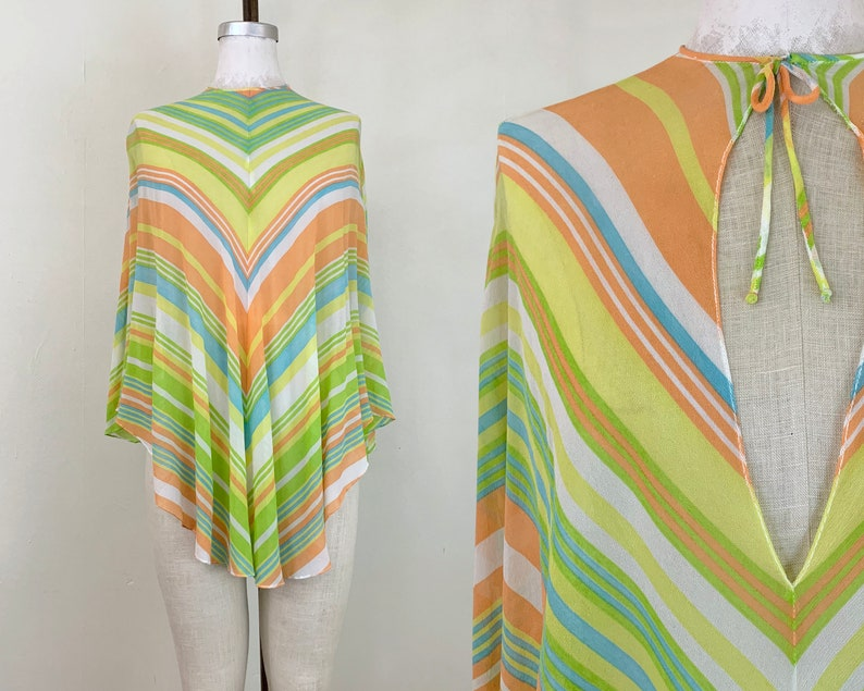 fffe5b2edd7 Vintage 1960s Technicolor Silk Poncho Cover Up