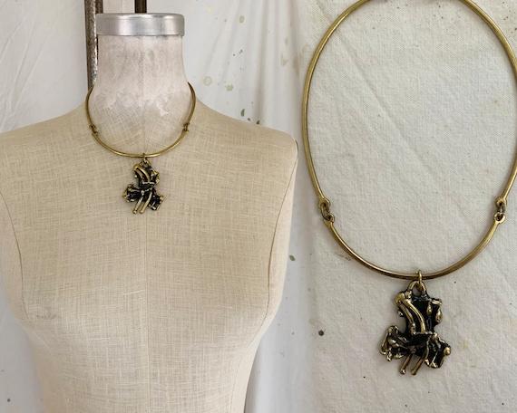 Vintage 1970s Brass Organic Brutalist Pendant Neck