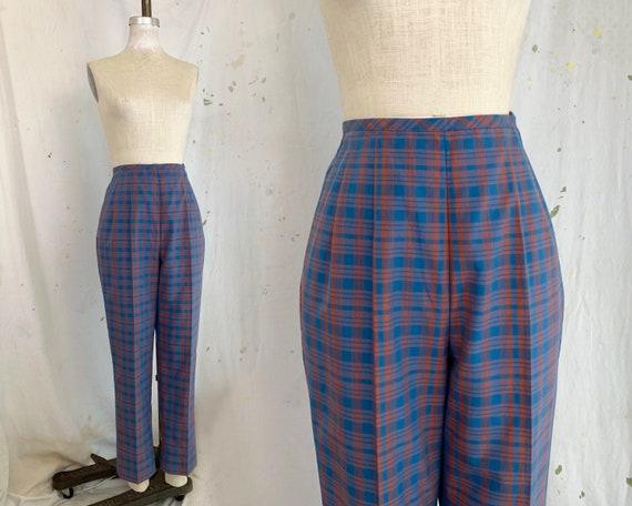 Vintage 1950s Plaid High Waisted Cigarette Pants s