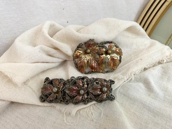 Vintage 1970s Maple Leaf Brooch & Bracelet Jewelry