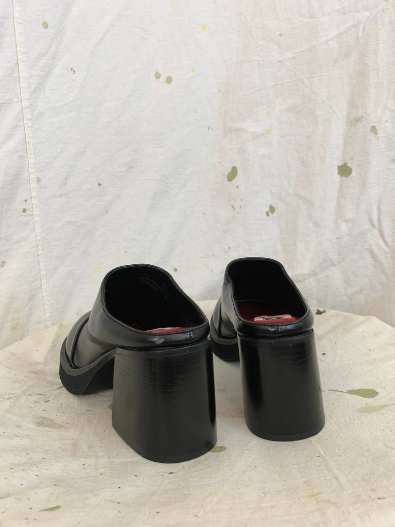 Vintage 90s Goth Chunky Block Heel Platform Clogs  sz 6