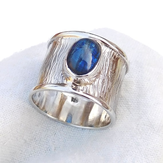 Kyanite /& Iolite Ring Contemporary Jewelry-U222 Unique Handmade Silver Ring 925 Sterling Silver Blue Kyanite Iolite Ring Kyanite Ring