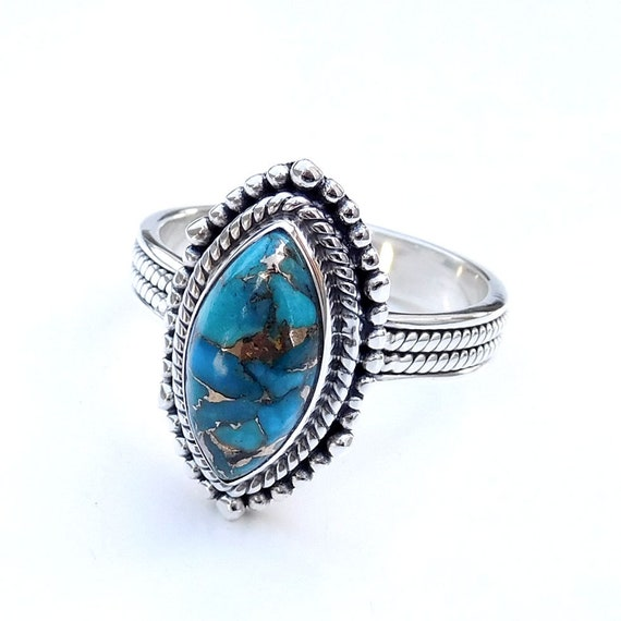 Unique Handmade Silver Ring-S113 Blue Copper Turquoise Ring Marquise Gems Ring