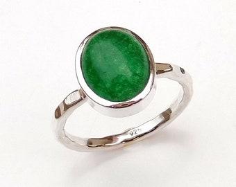 Green Jade Ring, Birthstone Green Jade Ring, Natural Green Jade Ring, Hammered Silver Ring, Stackable Ring, Girl's Ring, Women's Ring-U071