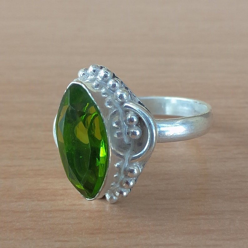 handmade ring Peridot ring Gemstone ring 92.5/% solid sterling silver ring peridot silver ring gift for her,925 silver size- 2 to 16  US