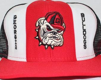 4377e6cbd9f Vintage Georgia Bulldogs Trucker Style Embroidered Snapback Hat
