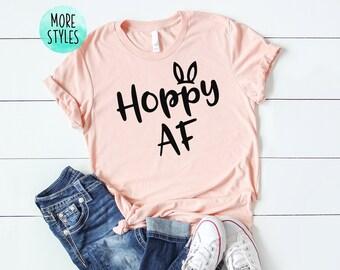 ff56f93d Hoppy AF Funny Easter Bunny Shirt Women's Easter Holiday Shirt Easter  Sunday T-shirt Happy Easter Outfit Bunny Ears Shirt Happy Easter Bunny