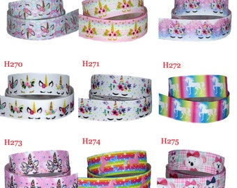 "SLEEPING UNICORN 2/"" GROSGRAIN RIBBON PASTEL COLOURS"