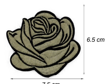 5PCS 77*66mm red roses embroidered iron patch embroidery decals clothing badges
