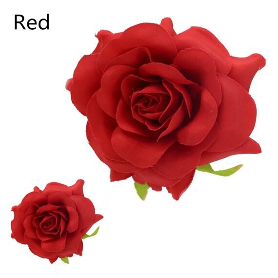 90-95mm3.5\u201d,7 Colors 50pcs Artificial big Rose Bud Silk Flower Heads For Clips Bridal Wedding Party Home Decor Bouquet