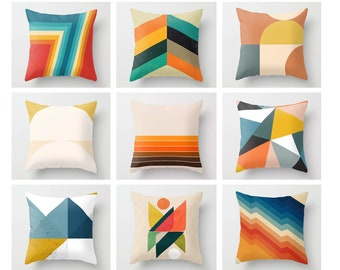 Abstract geometry Pillow covers/Rainbow Throw Pillow Case,for Home Decor Cushion Cover,Lumbar pillow covers 16 x 16,18 x 18,20 x 20,24 x 24