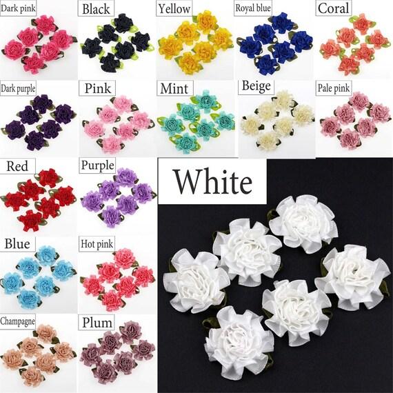 100Pcs Mini Satin Ribbon Rose Flower Leaf Bow Wedding Applique Sewing DIY Crafts