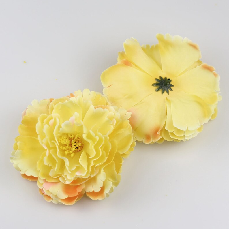 Yellow 12 cm  4.7/'/' diameter Artificial rose flower heads Peony Silk Flower for flower walls and Home Decoration crafts DIY hair clip