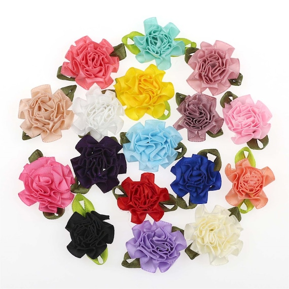 10 Satin Appliques Leaf Flowers for Crafts Scrapbooking Sewing Embellishments