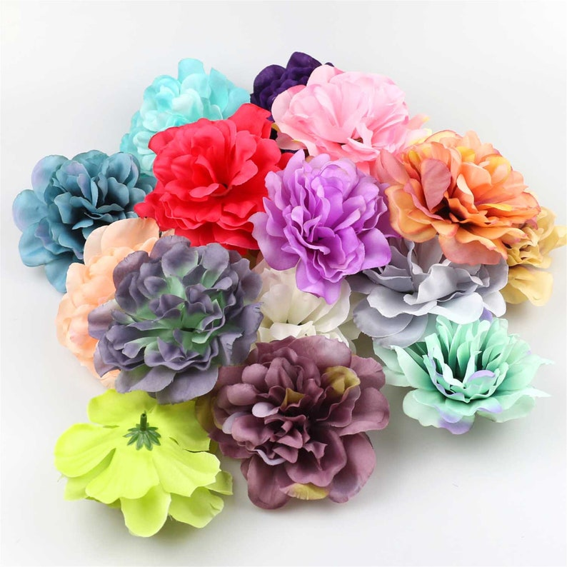 100Pcs 11cm Silk Bloom peony Artificial plastic flowers for christmas decor home wedding accessories scrapbook fake peonies diy wreath gifts