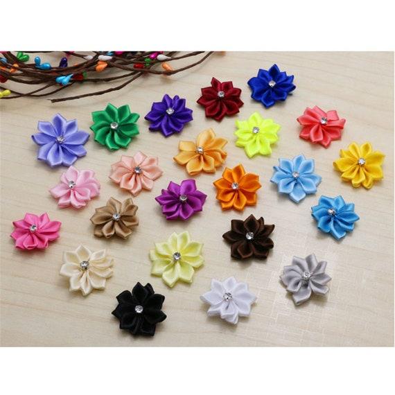 Yellow Satin Ribbon Flowers With Rhinestone Diamante Centre 25mm Craft Flower
