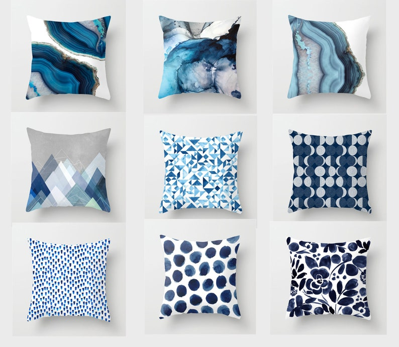 18x18abstract Art Blue Pillow Cover Throw Pillow Etsy