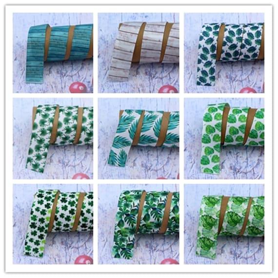 7 8 1 100 Various Green Plants Printed Grosgrain Ribbon Diy Hair Bow Gift Packag With Wedding Party Decoration Ribbon