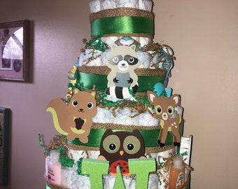Woodland theme diaper cake