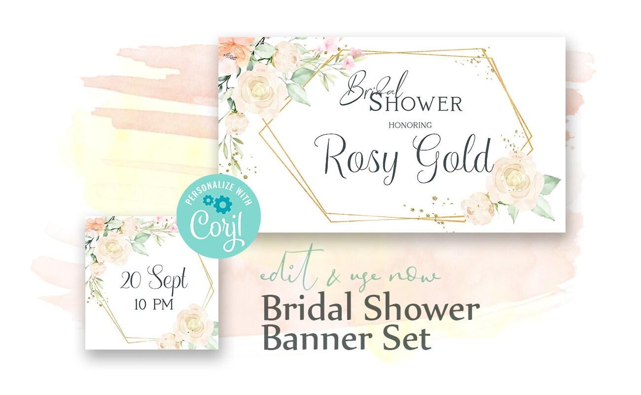 Bridal shower Banner set. Facebook Event Cover & Profile Image For Bridal Shower Banner Template