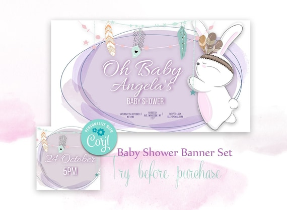 Baby Shower Facebook Event Cover Editable Oh Baby Facebook Etsy