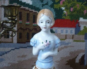 In time you/'ll bloom OOAK Assemblage sculpture vintage fenton green glass doll head pin cushion handmade tiny bumble bees clock parts