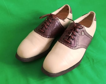 MINT vintage Footjoy Golf Shoes, cream /brown leather, metal spikes,size 11 1/2M