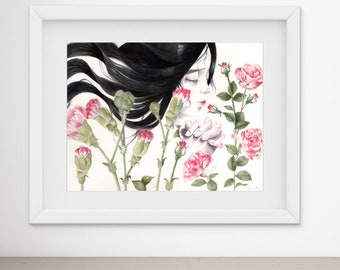 "Female Pink Rose floral Portrait Painting Watercolor Art Original / ""Great Faith"" 26x36cm"