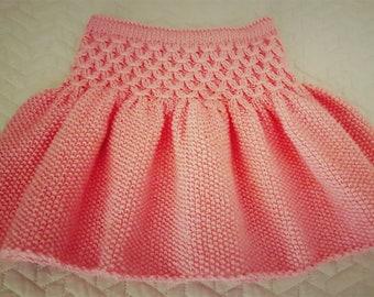 Handmade Knitted  Pink Skirt