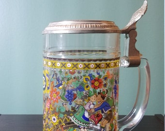 Floral beer glass with pewter lid