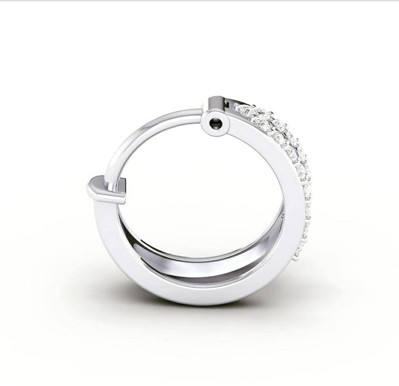 Geniune Diamond nose ring two line nose ring 14kt white gold with natural Diamond real diamonds 2 layer diamond nose ring nose piercing
