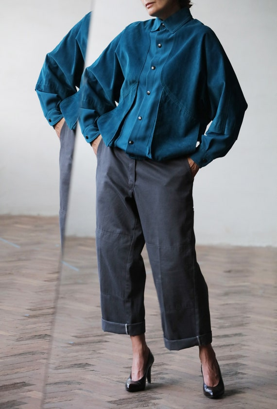 Ted Lapidus vintage 80s suede and fabric jacket