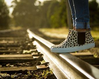 Cheetah Animal Print Hi Tops Boots White Leather Cowhide Cheetah Spots Shoes Footwear