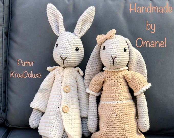 Set of 2: Mr and Mrs Bunny- Handmade by Omanel