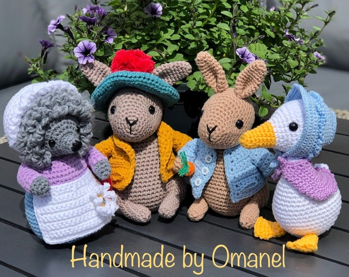 Complete set Peter Rabbit and Friends - Handmade by Omanel