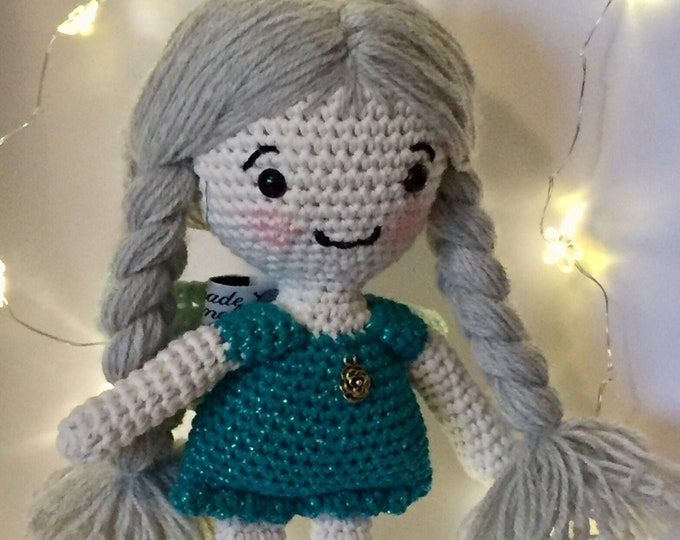 Christmas Angel with green dress and gray hair-Little Angel Doll