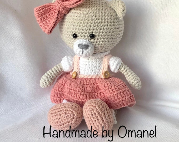 Milly-Rose the Teddy Bear van Little Aqua Girl - Handmade by Omanel