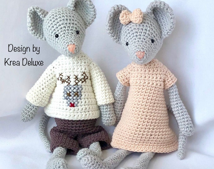 Set of 2: Mr and Mrs Mouse - Handmade by Omanel