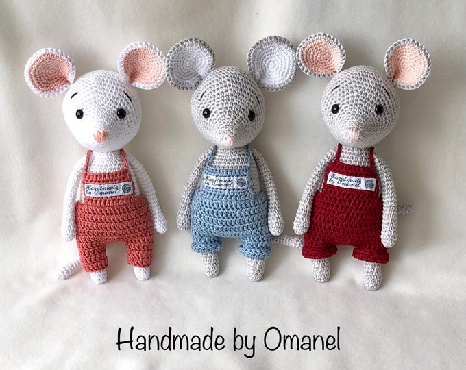 Mice with dungarees - Handmade by Omanel