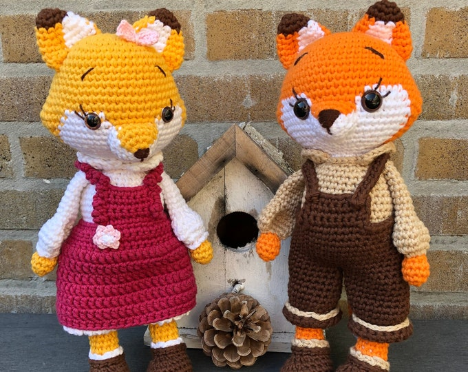 Vosjes Mitsu and Kitsu the Fox handmade by Omanel