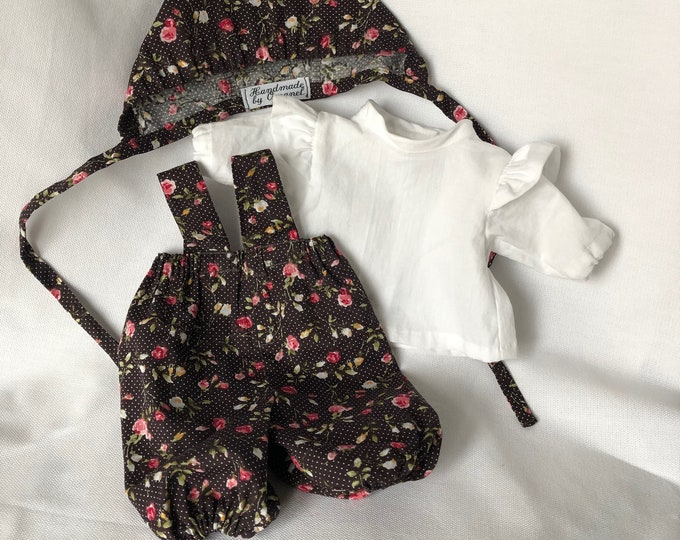 Set of doll clothes, puff pants, blouse and hat.