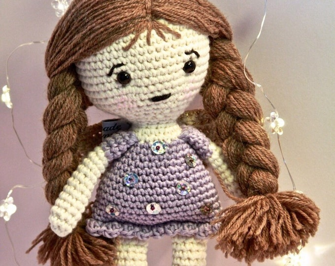 Christmas Angel with Lilac dress and dark brown hair-Little Angel Doll